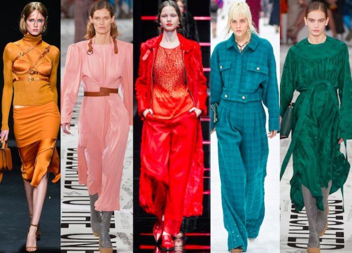 cinco ideas de moda otoño invierno, colores que se llevan esta temporada, naranja, rosado, rojo brillante, turquesa y verde