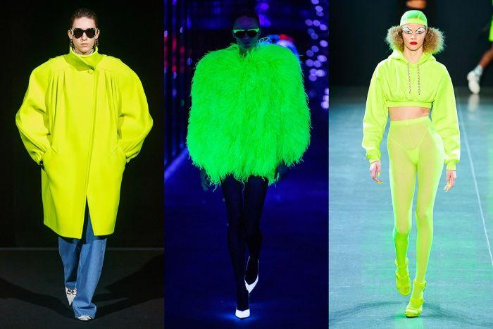 los neones siguen estando en tendencia, colores, cortes y tejidos modernos, moda otoño invierno, ejemplos en 100 fotos