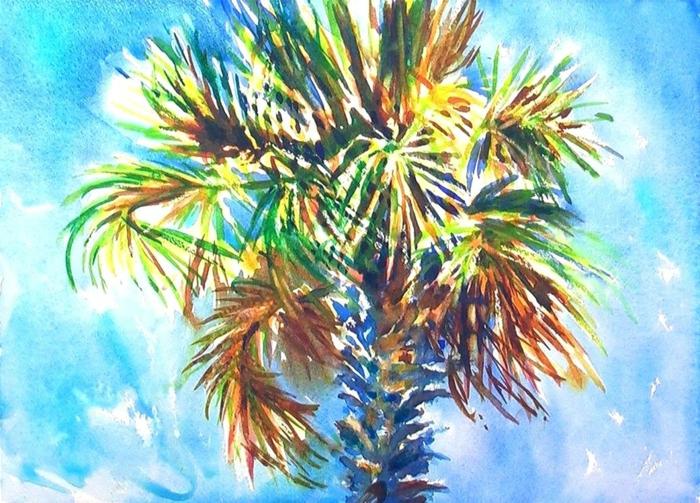 ideas de dibujos para dibujar faciles para niños y adultos, dibujar una palmera con colores acuarelas, ideas de dibujos
