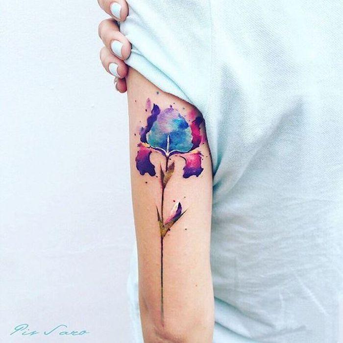 tatuaje brazo en colores, diseños de tatuajes en acuarela originales, tatuajes pequeños para mujeres originales fotos