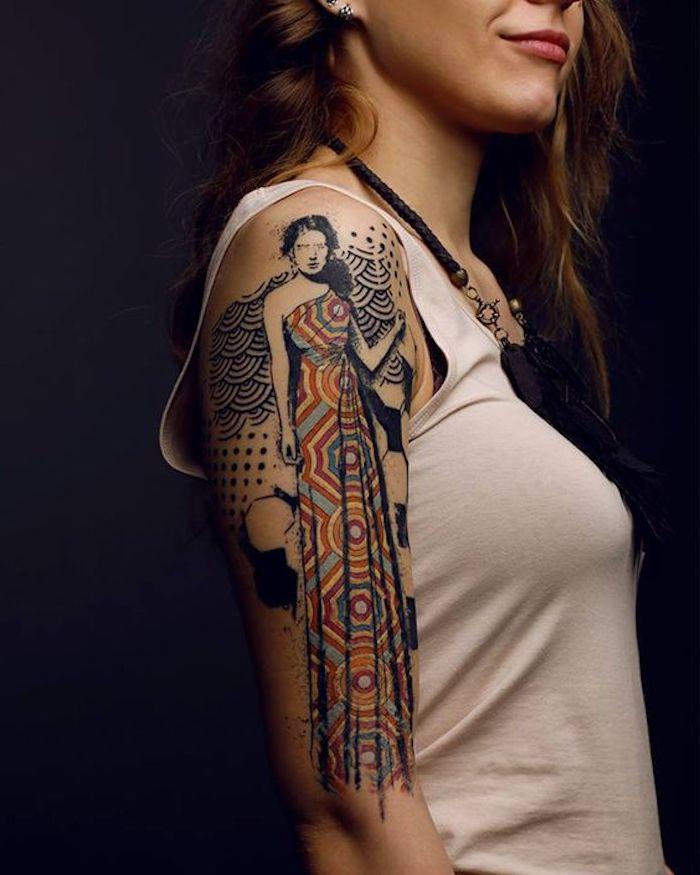 brazo tatuado en colores bonitos, tatuajes mujer originales en fotos, diseños de tatuajes mujer brazo en imagenes