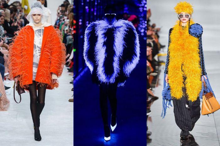 prendas maxy con plumas en colores neon, colores vibrantes modernos en otoño invierno 2019 2020, prendas de silueta maxy
