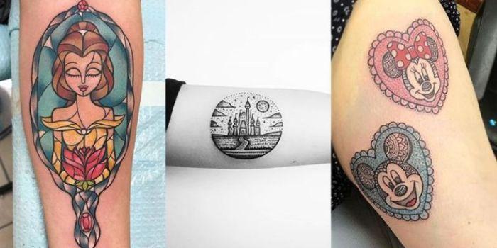 tres diseños de tatuajes en la mano, tatuaje Mickey y Minie, tatuaje la Bella y la Bestia, tatuaje el castillo de Walt Disney