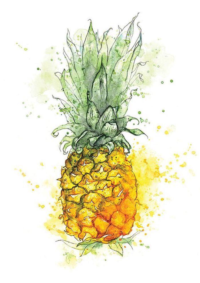 dibujos de frutas de verano para dibujar, dibujos para niños originales, ideas sobre qué pintar con pinturas acuarelas