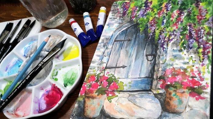 los mejores ejemplos de pinturas en acuarela, dibujo puerta uvas, macetas con flores en rosado y lila, dibujos para dibujar faciles