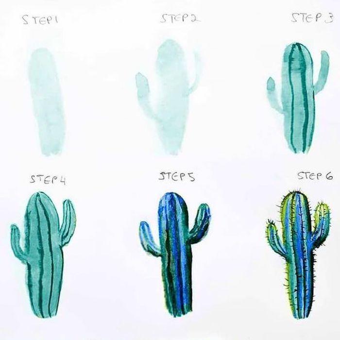 cómo dibujar un cactus con pinturas acuarelas, dibujos para niños originales en colores vibrantes, aprender a dibujar