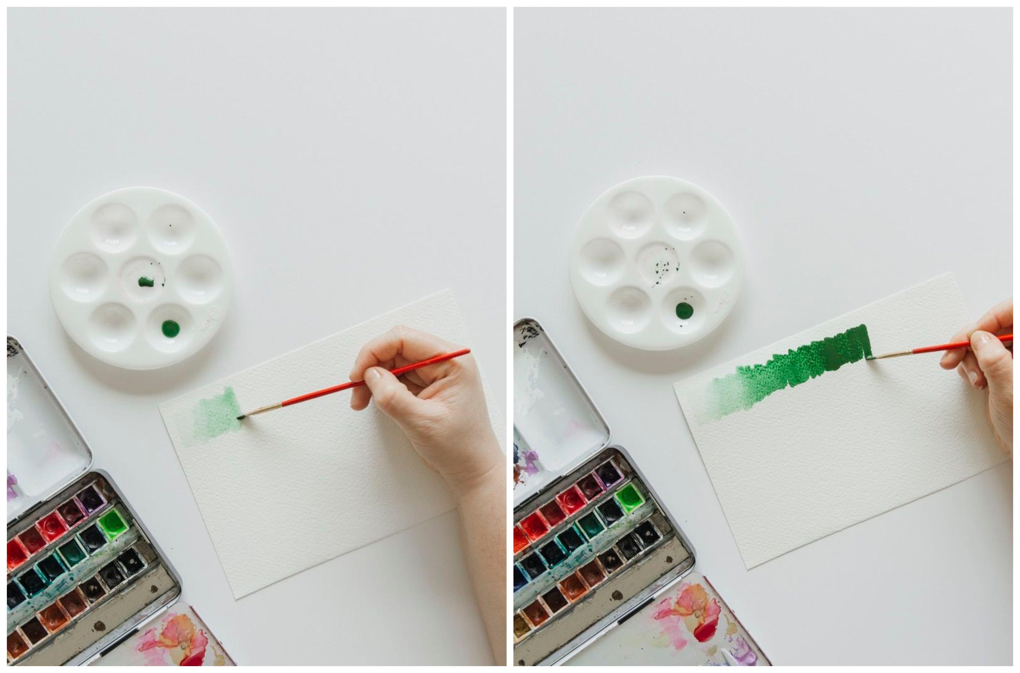 interesantes ideas de tecnicas de pintura, ideas sobre como graduar los colores con pintura acuarela, pintar es facil