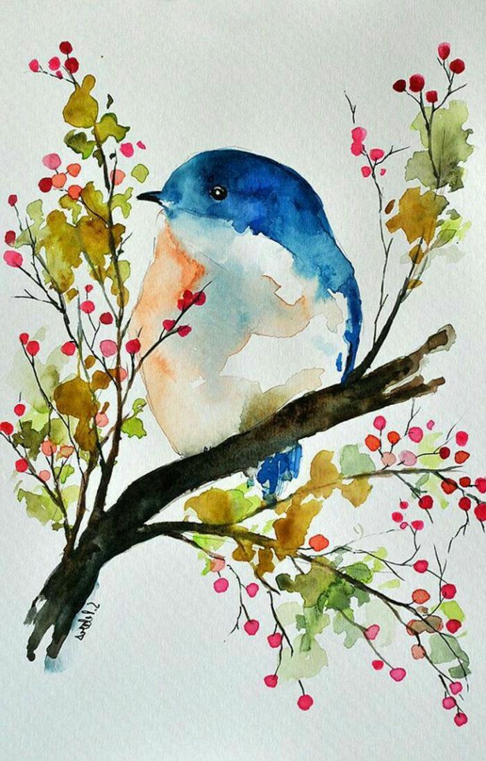 las mejores propuestas de dibujos para dibujar faciles, como dibujar un pájaro en un árbol florecido, ideas de dibujos