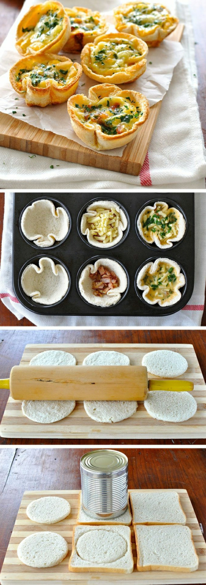 mini tartas con huevos, ideas de comidas vegetarianas para hacer en desayuno, comidas rapidas y faciles en imagenes