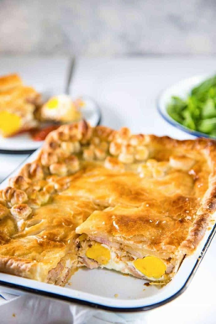 super ricas ideas de comidas rapidas y faciles, empanada con jamón y huevos cocidos, como preparar un desayuno original y nutritivo