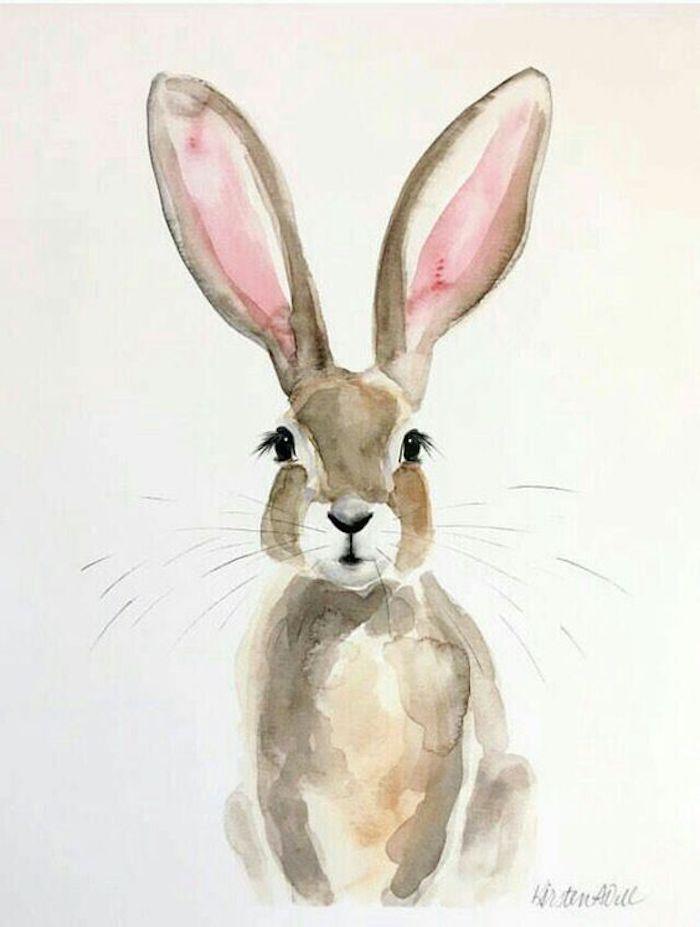 simpático dibujo de un conejo hecho con pinturas acuarelas, super originales ideas de dibujos en acuarelas paso a paso