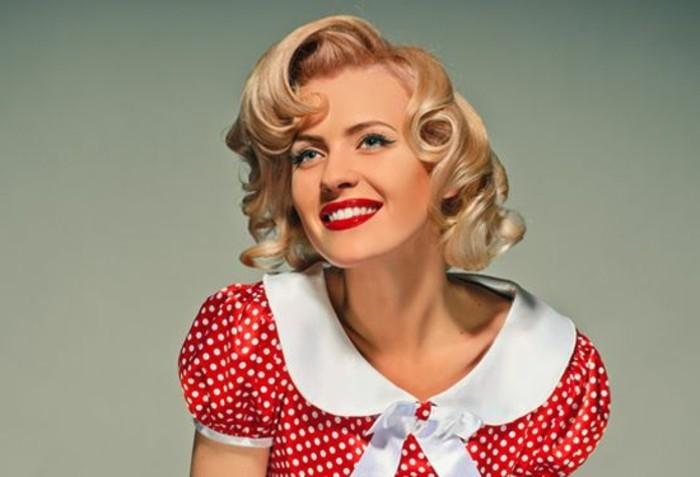super bonitas ideas de peinados pin up pelo corto, peinado en estilo vintage con rizos, peinados media melena mujer
