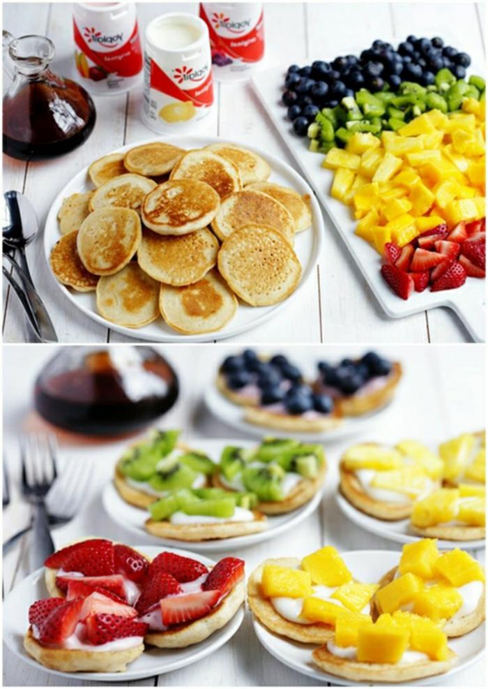 irresistibles propuestas para un desayuno saludable con frutas, mini panqueques con frutas, desayuno equilibrado