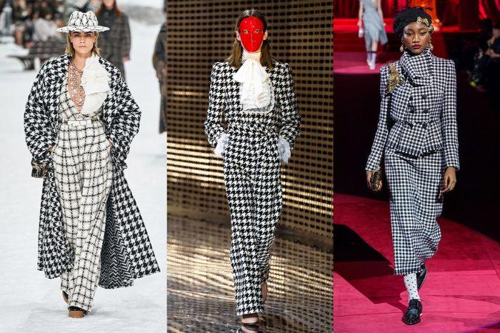 prendas bonitas con el estampado icónico de Chanel para esta temporada, tres propuestas de atuendos print de cuadros blanco y negro