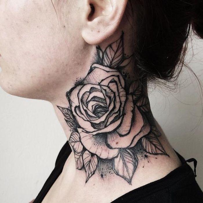 tatuajes de rosas en el cuello, diseños de tatuajes de flores simbolicos, qué significa el tatuaje rosa, diseños en fotos