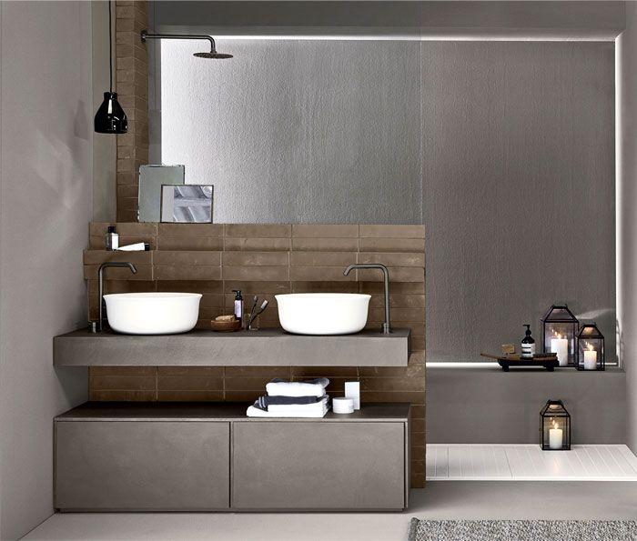 decoración baño en color gris y marrón, las mejores fotos de cuartos de baño modernos 2019, más de 100 diseños de baños