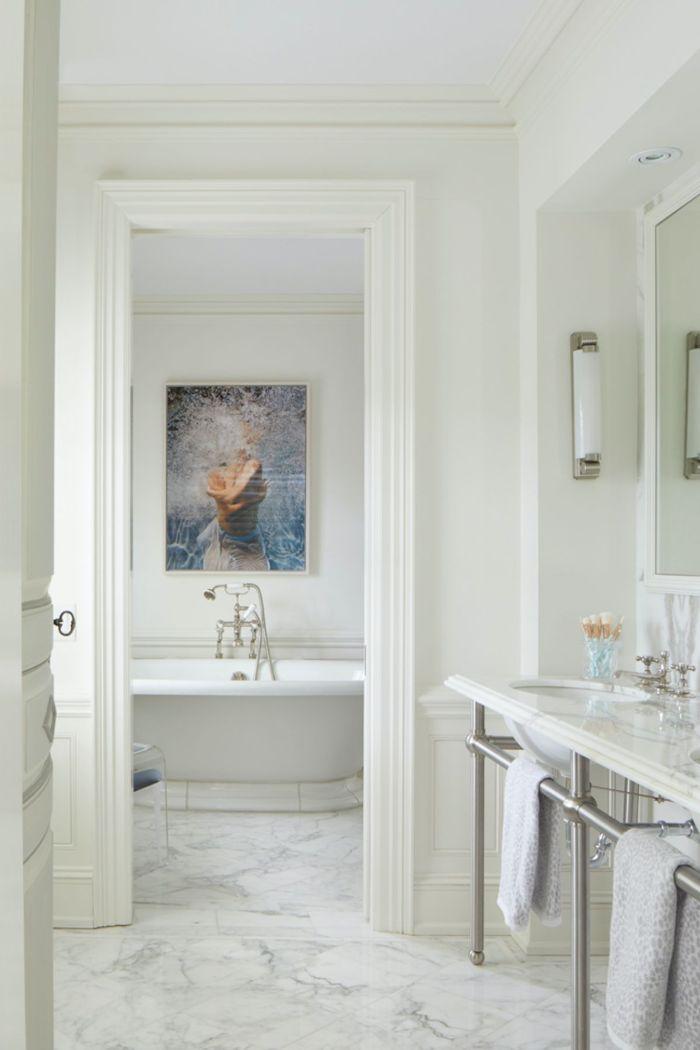 baños decorados en blanco con mármol, ideas sobre cómo decorar un cuarto de baño en estilo clásico, decoracion cuartos de baño de estilo
