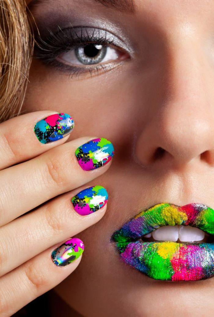 colores para uñas 2019, decoración de uñas en colores neones, últimas tendencias en los diseños de uñas 2019 2020