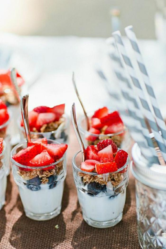 ideas de desayunos saludables con yogur, recetas faciles y rapidas para comer, desayuno con yogur, arándanos y fresas