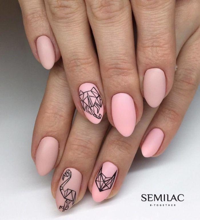 uñas largas de forma almendrada pintadas en rosado con acabado mate, uñas decoradas elegantes con bonitos dibujos