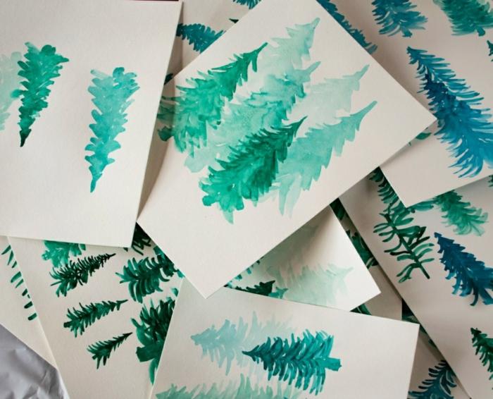 árboles pintados con pintura acuarela, motivos para dibujar super fáciles, como dibujar un árbol con acuarelas paso a paso