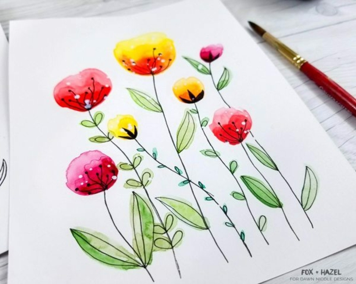 técnicas de pintura sencillas, cosas fáciles para dibujar, ideas para dibujar en fotos, dibujos con manchas de colores