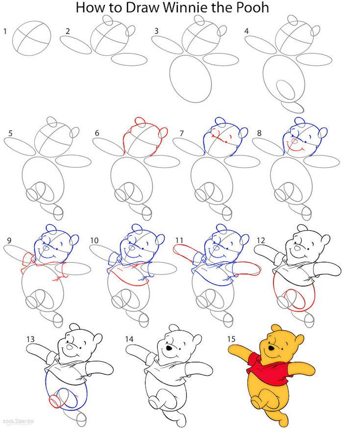 como dibujar el oso pooh en un tutorial de 15 pasos, ideas de dibujos originales y sencillos paso a paso, dibujos Disney