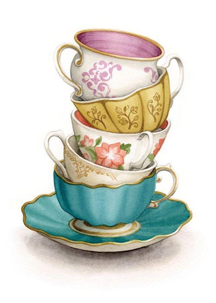 preciosas propuestas de dibujos en estilo vintage para redibujar, tazas de té de porcelana, los mejores dibujos para redibujar