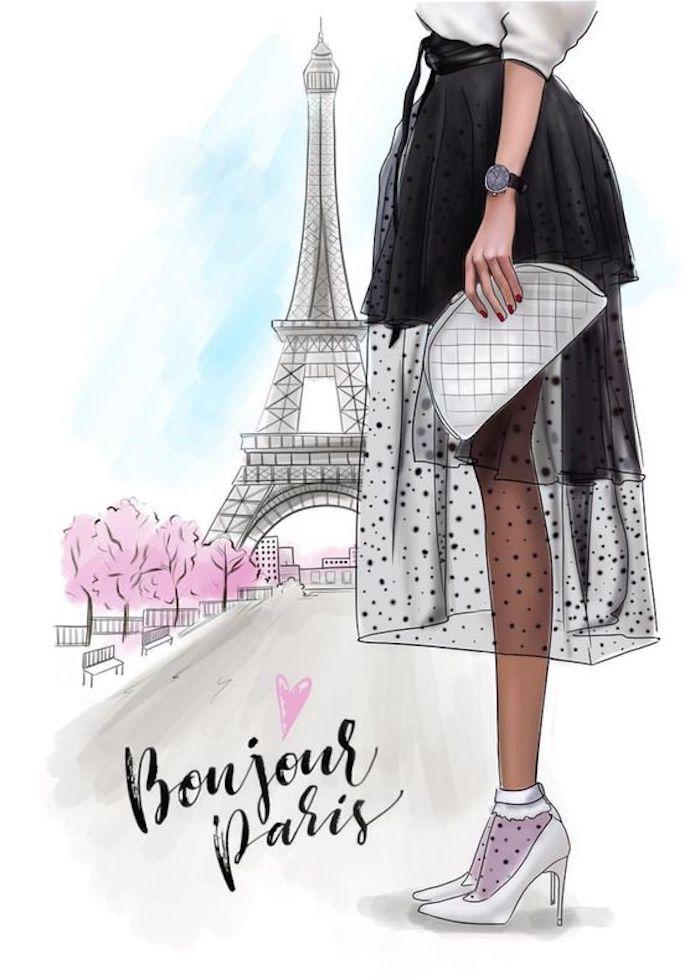 super elegantes ideas de personas para redibujar, paisaje de Paris inspirador para redibujar, originales ideas de dibujos primavera