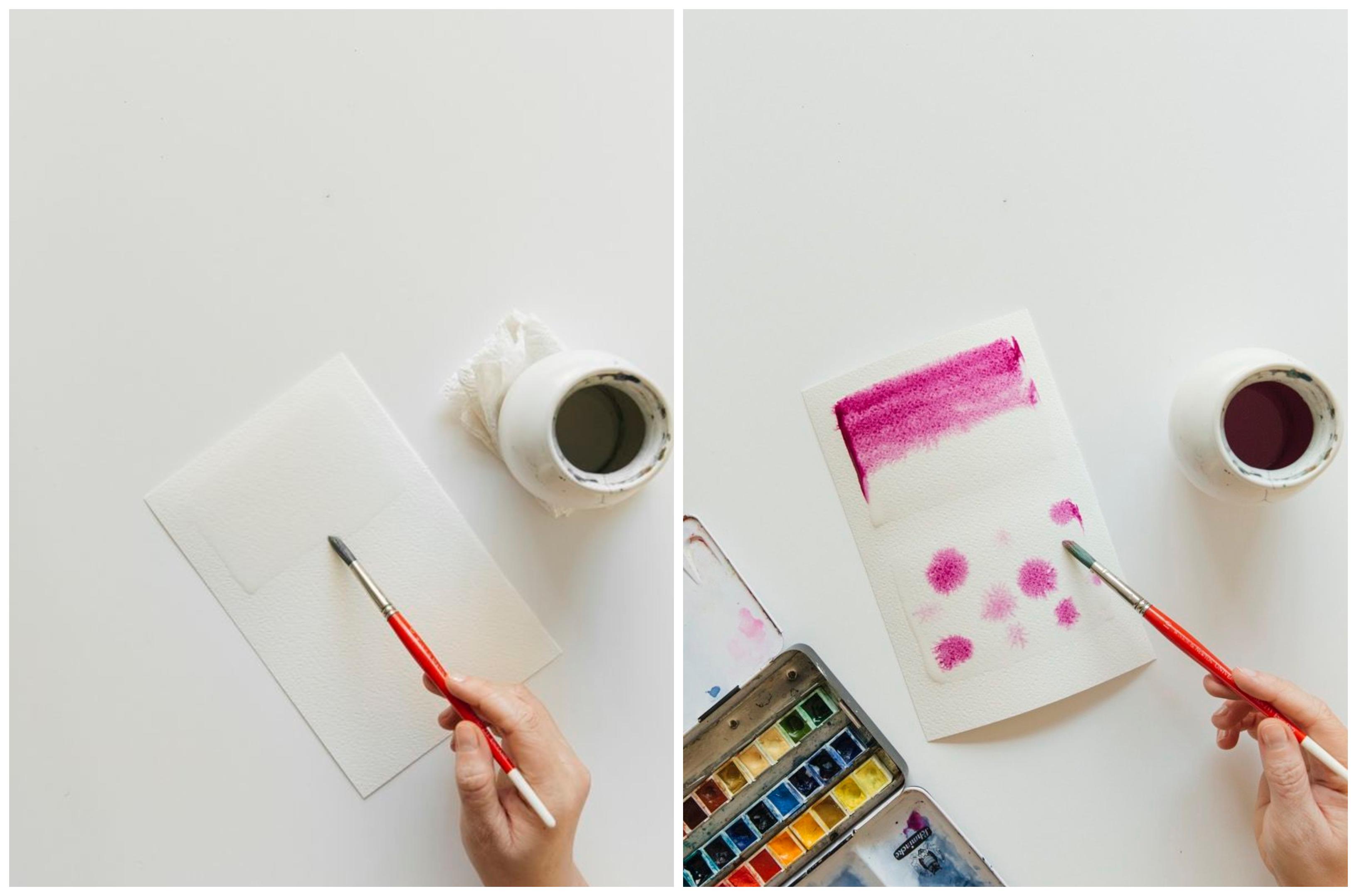 ideas de tecnicas de pintura para principiantes, como dibujar con el métido húmedo sobre húmedo paso a paso, tutorial en fotos