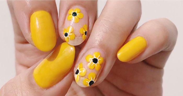colores para uñas en tendencia, dibujos para uñas hermosos, diseños de uñas con flores en colores vibrantes para el verano