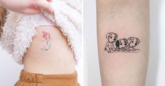 dos propuestas de tatuajes pequeños inspirados en los personajes de Disney, super originales ideas de tattoos disney en colores