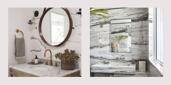 baños pequeños decorados en colores claros, baños con mármol, diseños de baños modernos en estilo contemporáneo