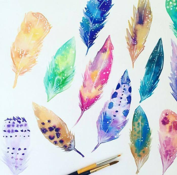 coloridos ejemplos de dibujos con acuarelas, plumas en colores vibrantes bonitos, 90 ejemplos de dibujos acuarela