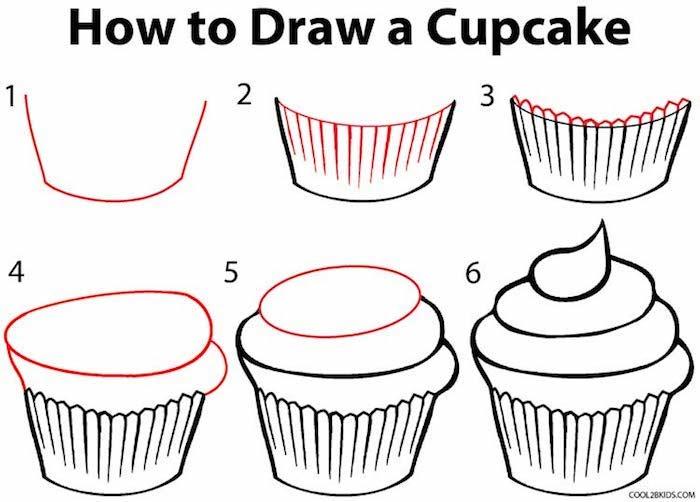 como dibujar una magdalena paso a paso, super fáciles propuestas de dibujos para niños y principiantes, dibujar es fácil