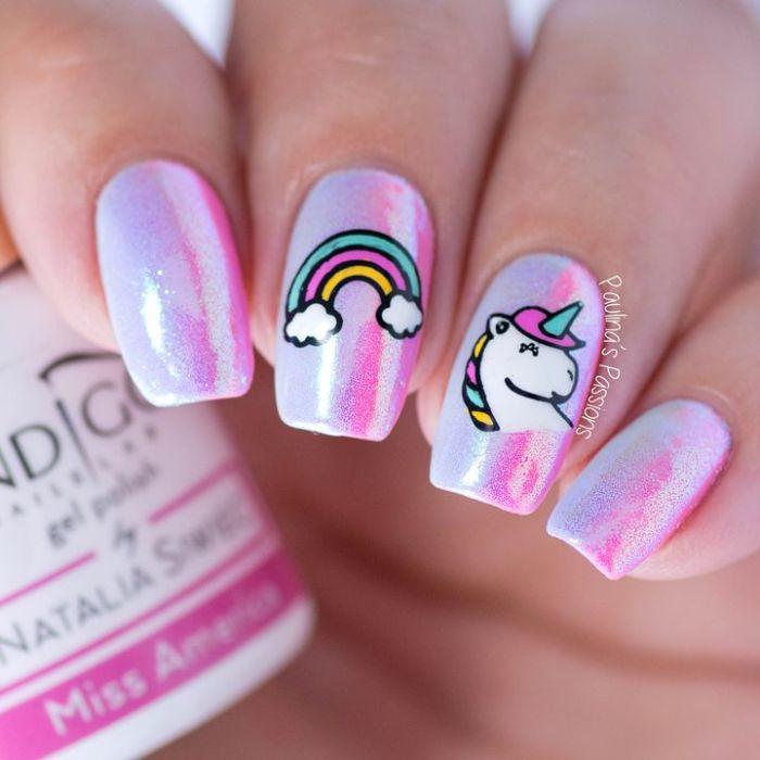 cuáles son las propuestas más simpáticas de dibujos para uñas, dibujos en colores vivos, dibujos unicornio en las uñas