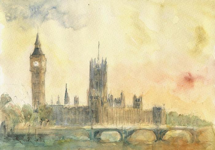 paisaje de Londres bonito hecho por un profesionalista, ideas para dibujar originales, 90 ideas de dibujos para redibujar