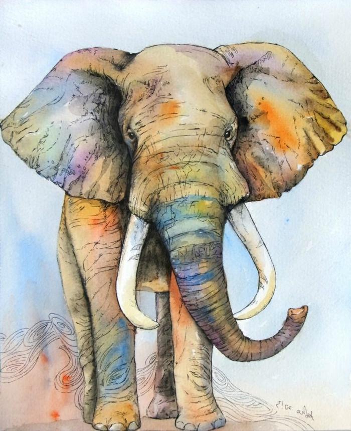 como dibujar un elefante con acuarelas paso a paso, pinturas y dibujos para avanzados, dibujos de animales originales