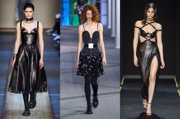 vestidos de cuero en color negro inspirados en el estilo gótico, outfit otoño invierno, prendas modernas para ir de fiesta