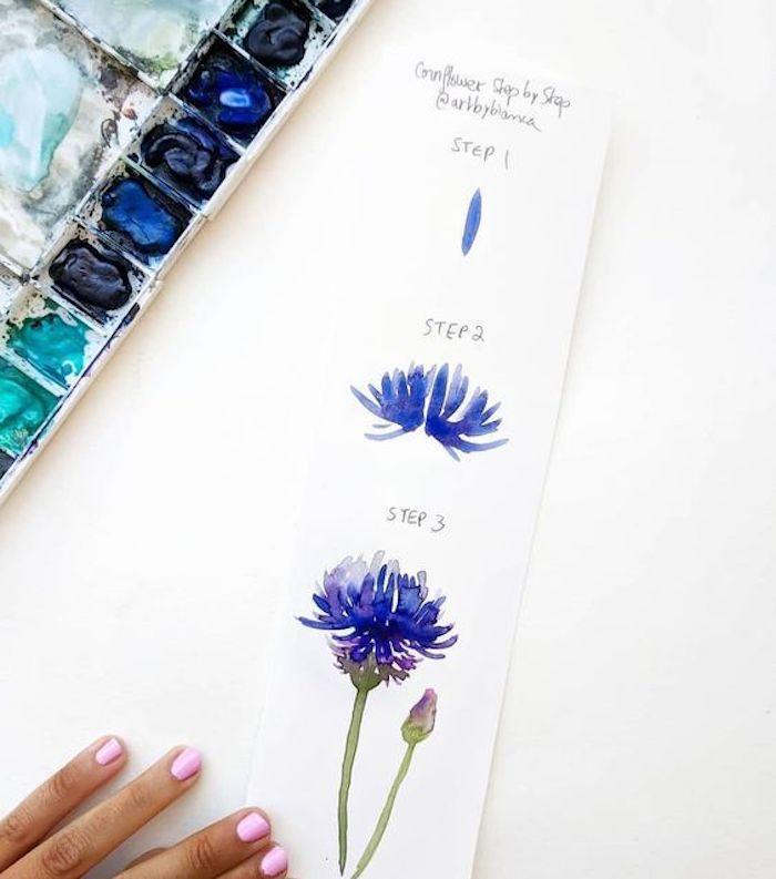dibujos de flores en colores vibrantes, ideas sobre cómo pintar con acuarelas, fotos de dibujos que inspiran, como dibujar flores paso a paso
