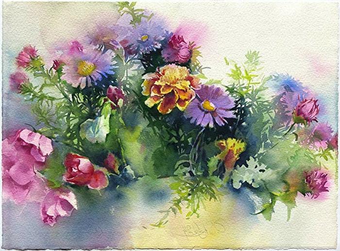 hermosas flores acuarela en bonitos colores, como dibujar con acuarelas paso a paso, tutoriales en imágenes bonitas