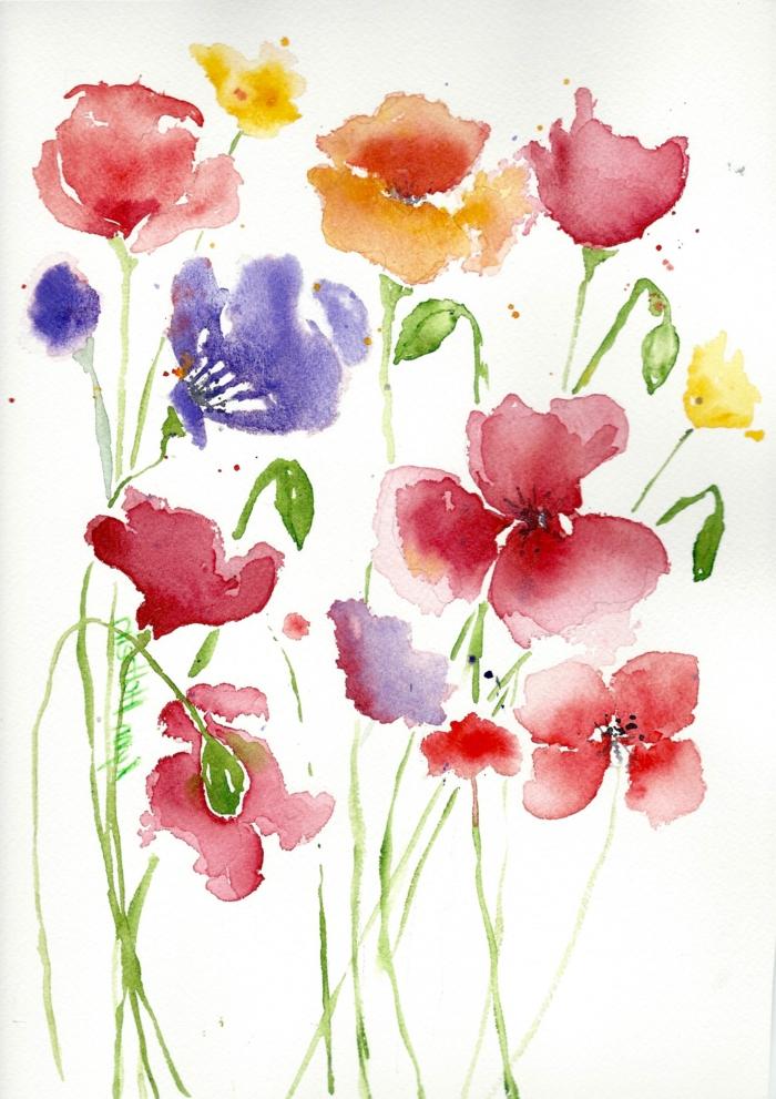 flores acuarela fáciles de hacer, hermoso dibujo de flores para el verano, más de 90 propuestas de pinturas acuarela