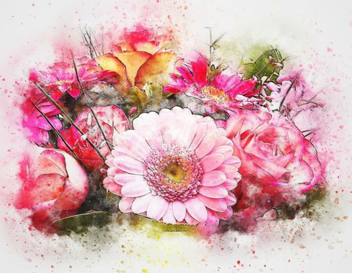 bonitas flores en color rosado, flores acuarela, preciosas fotos de dibujos acuarela inspiradores, dibujos de rosas