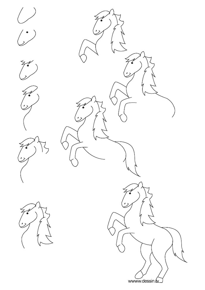 como dibujar un caballo de manera fácil, tutoriales para dibujar animales, originales ideas de dibujos para dibujar