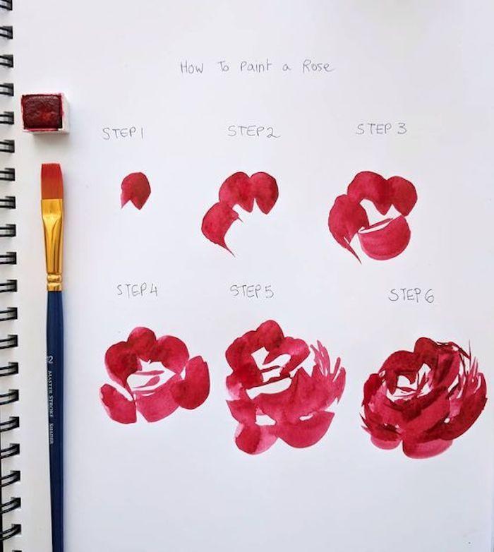 como dibujar una rosa paso a paso, dibujos fáciles de hacer, ideas de dibujos de rosas en pinturas acuarela, dibujar con acuarelas