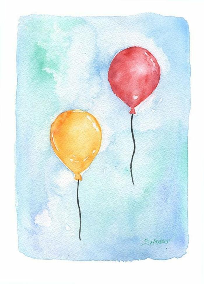las mejores ideas de dibujos sencillos para niños, dibujos de globos en colores vibrantes, ideas de dibujos para redibujar