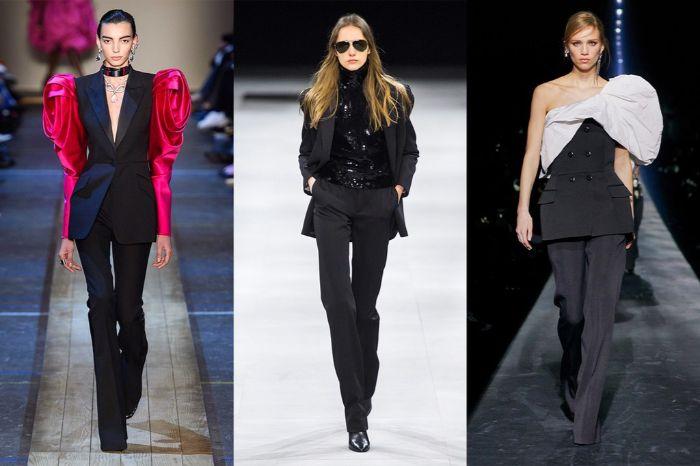 prendas en negro con detalles en color fuscia y blanco, diseños de ropa con hombros marcados, outfit otoño en fotos