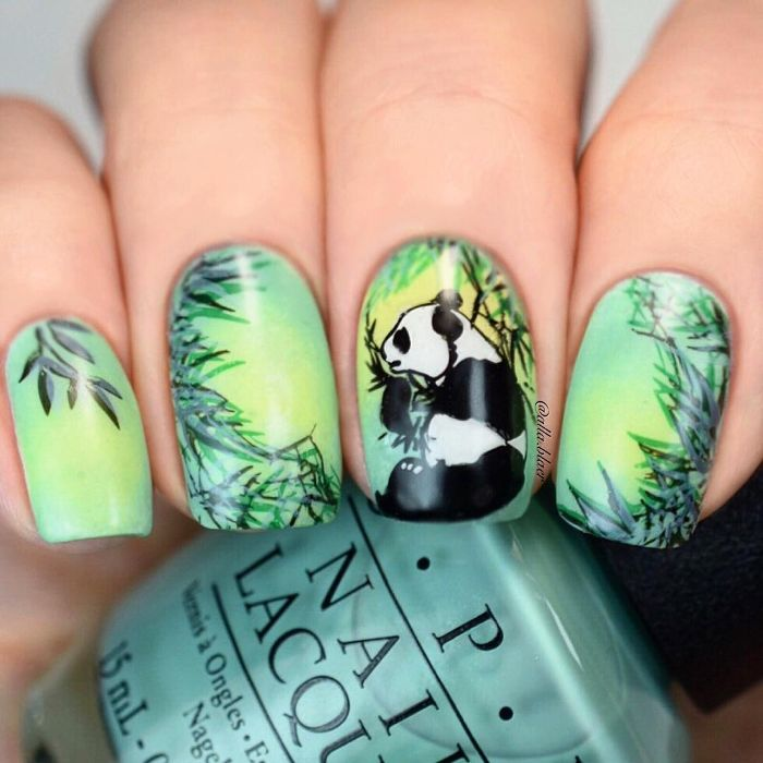 super originales ideas de dibujos de uñas de gel, uñas largas cuadradas pintadas en tonos verde con alucinantes dibujos