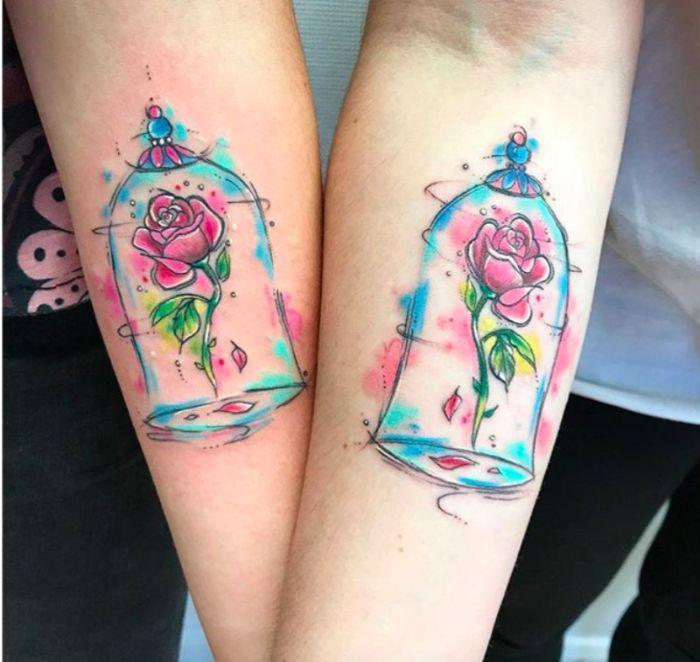 diseños de tatuajes para mejores amigas, tatuajes para hermanas, tatuajes de la Bella y la Bestia, las mejores ideas de tatuajes