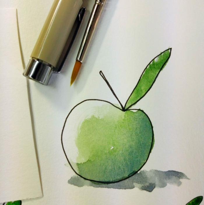 como dibujar una manzana a lápiz y pintarla con pintura acuarela, dibujos animales y frutas, las mejores ideas de dibujos fáciles
